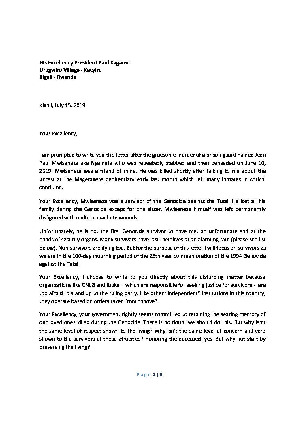 Open Letter to President Paul Kagame
