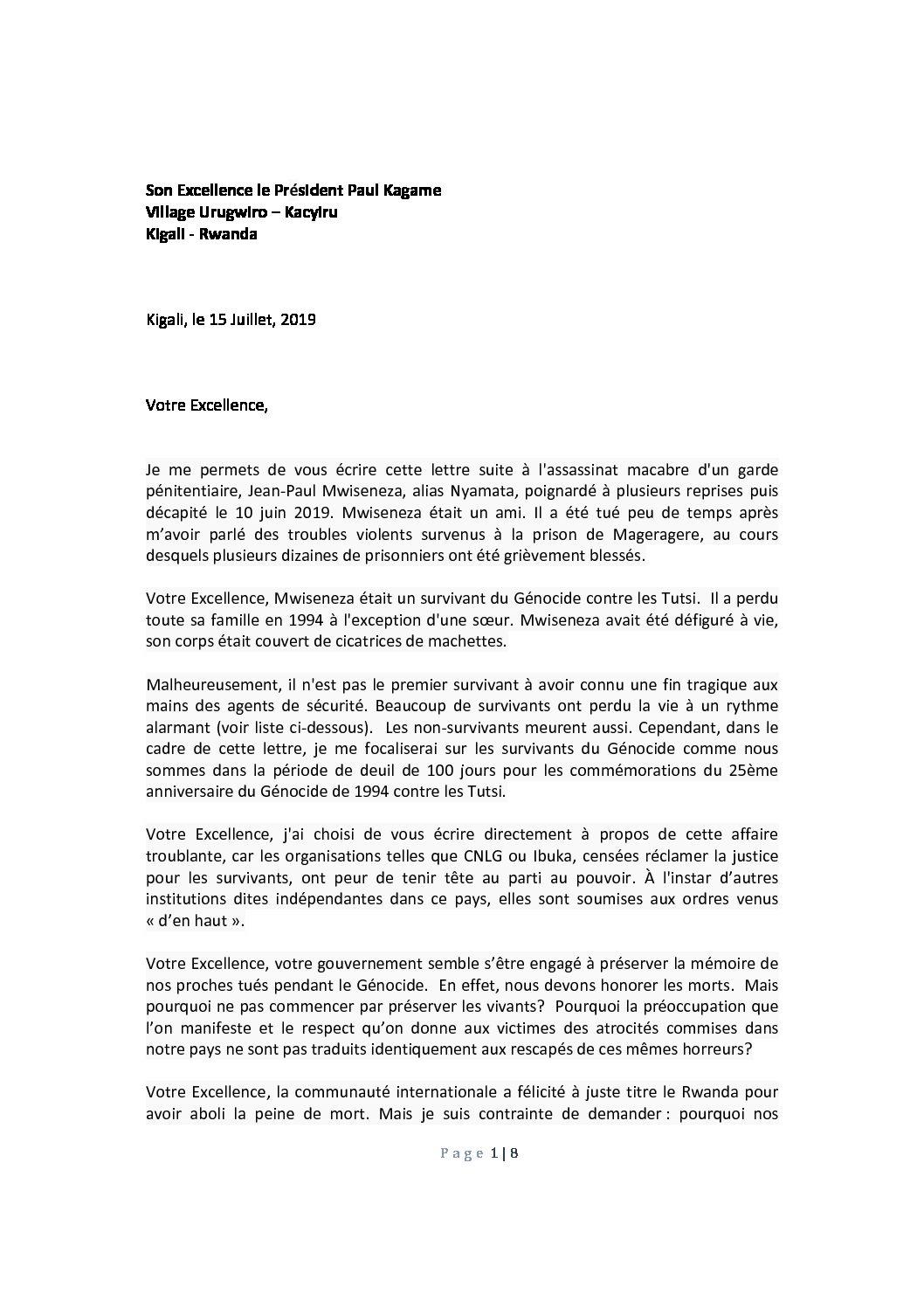 Lettre Ouverte au Président Paul Kagame